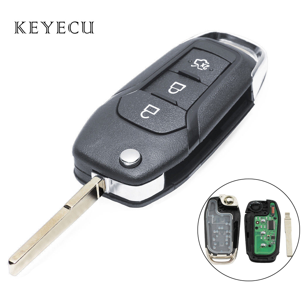Keyecu Replacement Flip Remote Key Fob 3 Buttons 433MHz ID49 Chip for Ford Escort / New Mondeo 2014 2015 2016 2017