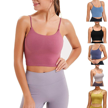 Women 2 Colors Padded Yoga Vest Sports Cross Fitness Tight Running Training Workout Female Yoga Shirts Nylon Sportswear
