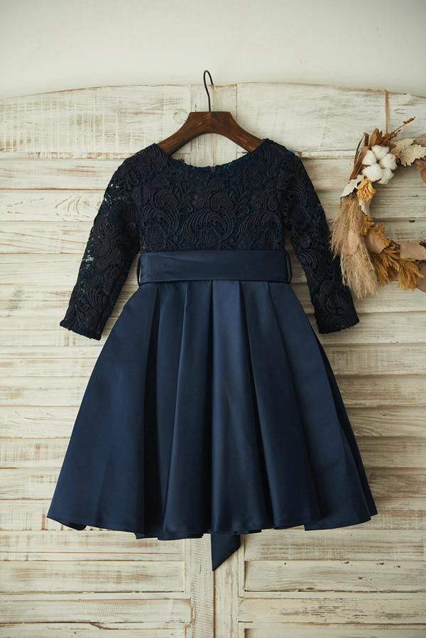 New Spring Flower Girl Dress Navy Blue Elegant Lace Satin Dress With Super Bow Zipper Up Long Sleeves Dress