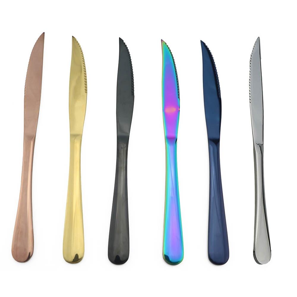 Acier Inoxydable Rainbow Dinnerware dentelée Sharp Dîner Couteau Or Set de couverts