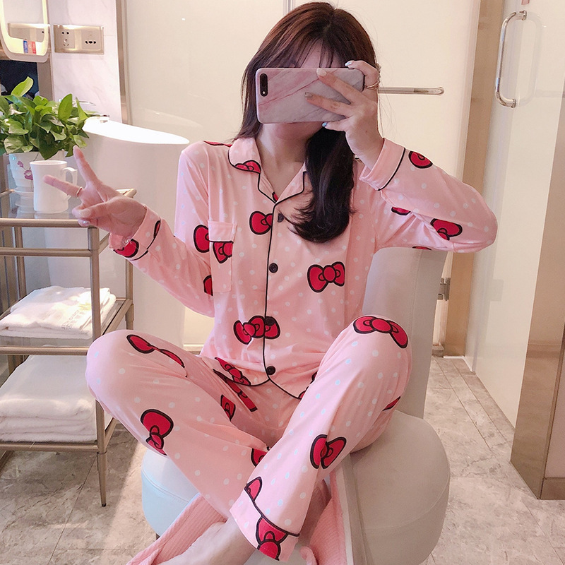 Pajamas Women Long Sleeve Pure Cotton Spring And Autumn Korean-style Women's Thin Large Size Autumn And Winter Tracksuit Summer
