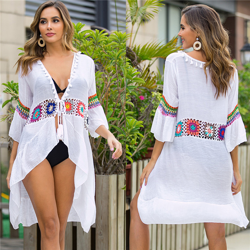2020 NEW Beach Cover-ups White Long Cover Up Knitted Crochet Flower Beachwear Bikini Ups For Women Summer Boho Tunic Dresses