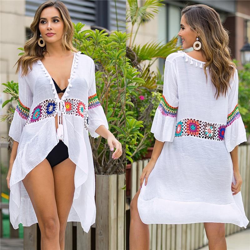 2020 NEW Beach Cover-ups White Long Cover Up Knitted Crochet Flower Beachwear Bikini Ups For Women Summer Boho Tunic Dresses