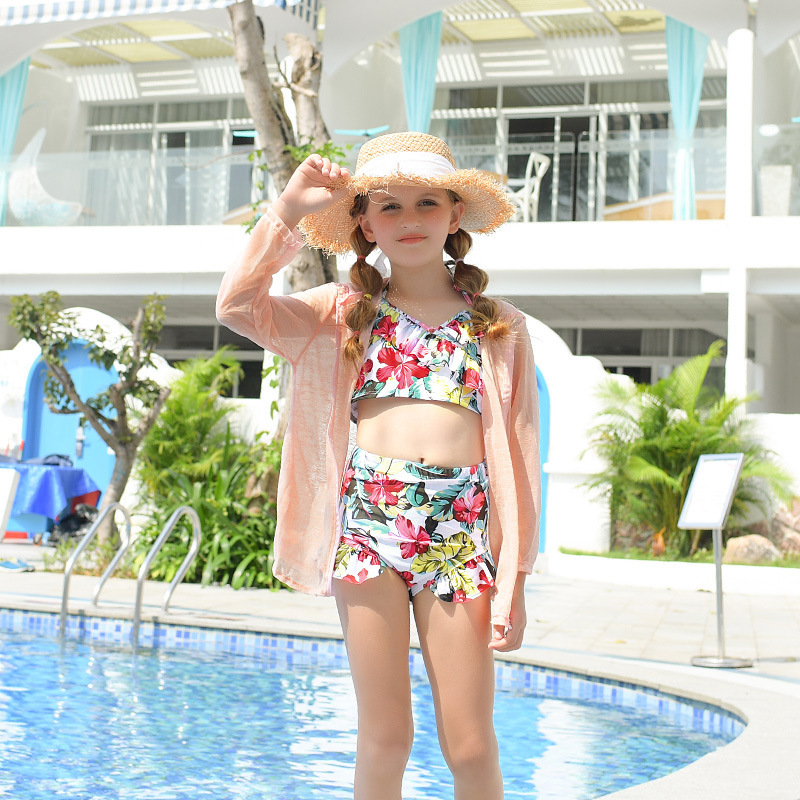 2019 New Style Hot Sales KID'S Swimwear Floral-Print Flounced Blouse Sun-resistant Triangular Split Type Hipster GIRL'S Swimsuit