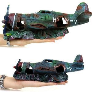 Подводный мини-резневый аквариум, искусственный самолет, украшение, аквариумный пейзаж