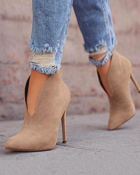 Pointed Toe Stiletto Ankle Boots Stiletto high heeled solid color stiletto bootie фото