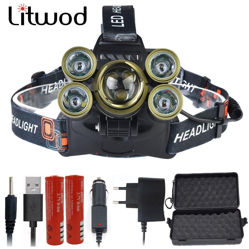 30000LM 7 LEDs Z502506 Zoom Lens XM-L T6 Headlamp Head Lamp Lighting Light Lantern Rechargeable Headlight For Fishing