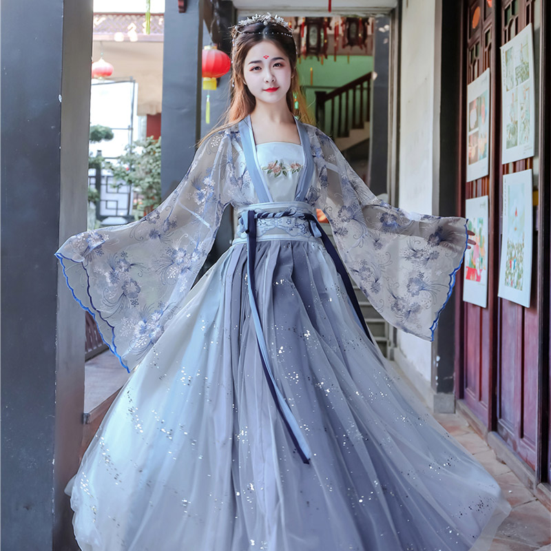 Embroidery Hanfu Women Blue Classical Dance Costume Singer Festival Outfit Fairy Dress Rave Performance Clothes 3 Pcs Set DF1341