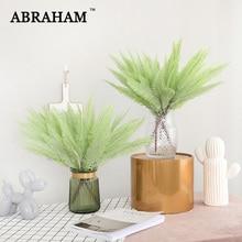 45cm Tropical Fern Leafs Fake Palm Tree Bouquet Artificial Plastic Flocking Green Plant Persian Foliage for Christmas Fall Decor