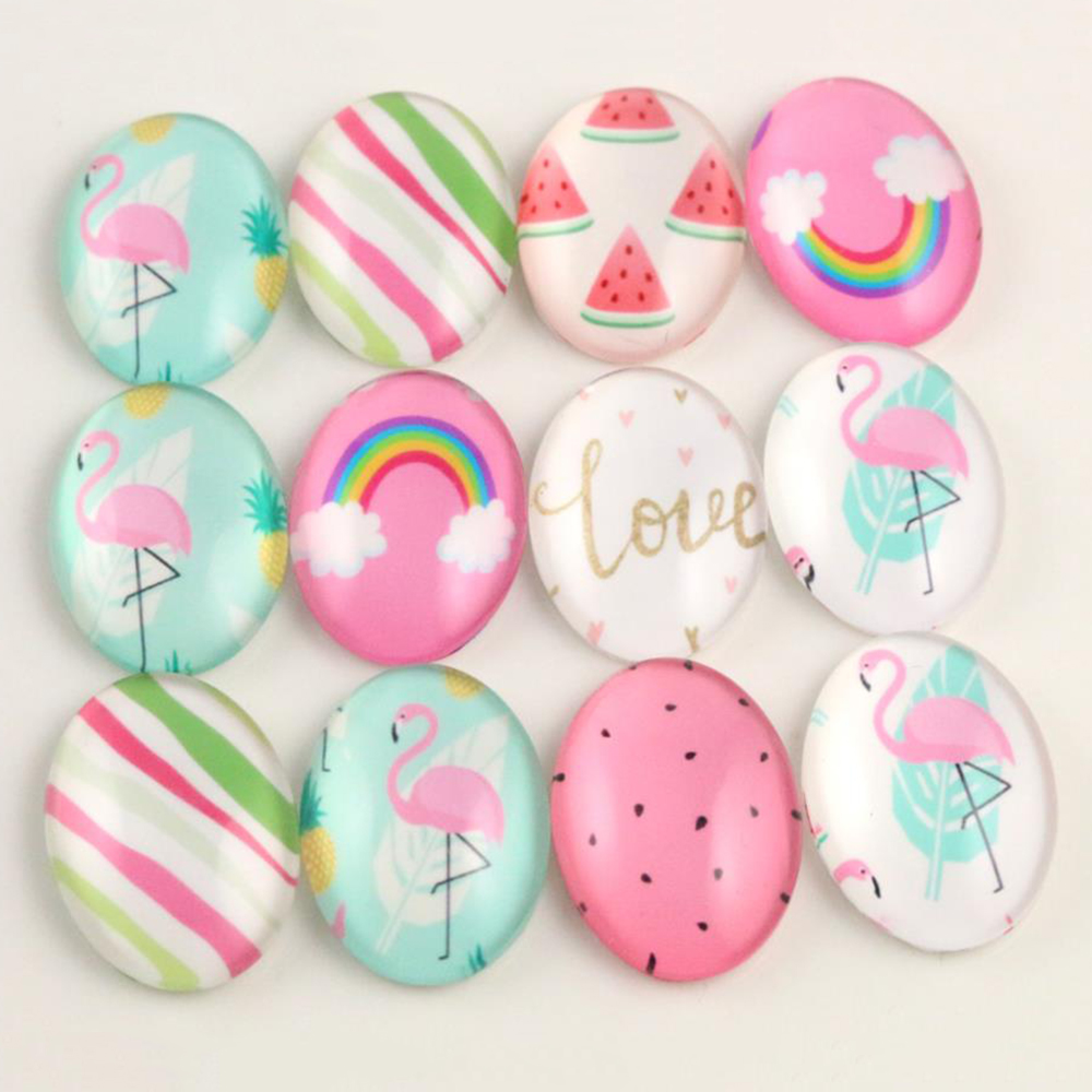 10pcs 18x25mm New Fashion Mixed Handmade Photo Glass Cabochons Pattern Domed Jewelry Accessories Supplies-H6-06