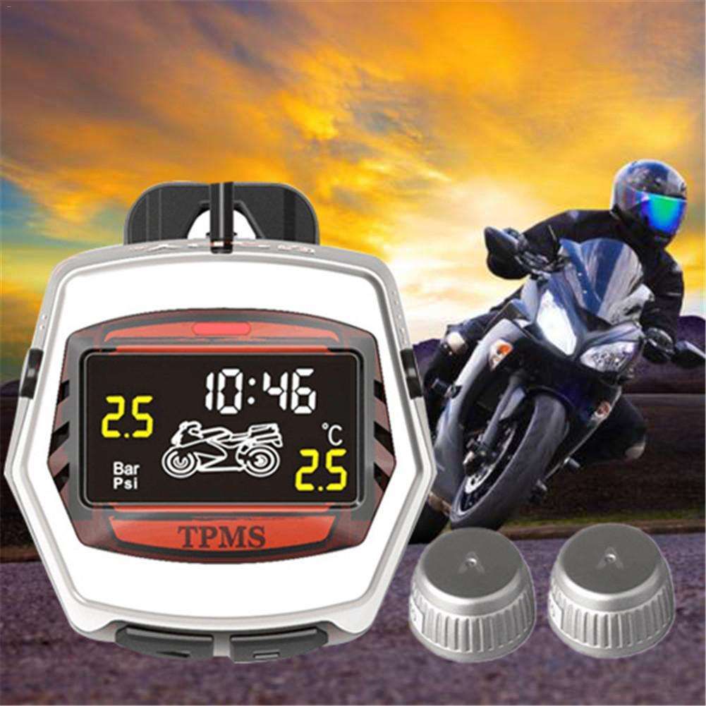 Motorcycle Tire Pressure Monitoring System TPMS REAL TIME MONITORING Motor Tyre Alarm System External /Built-in Pressure Sensors