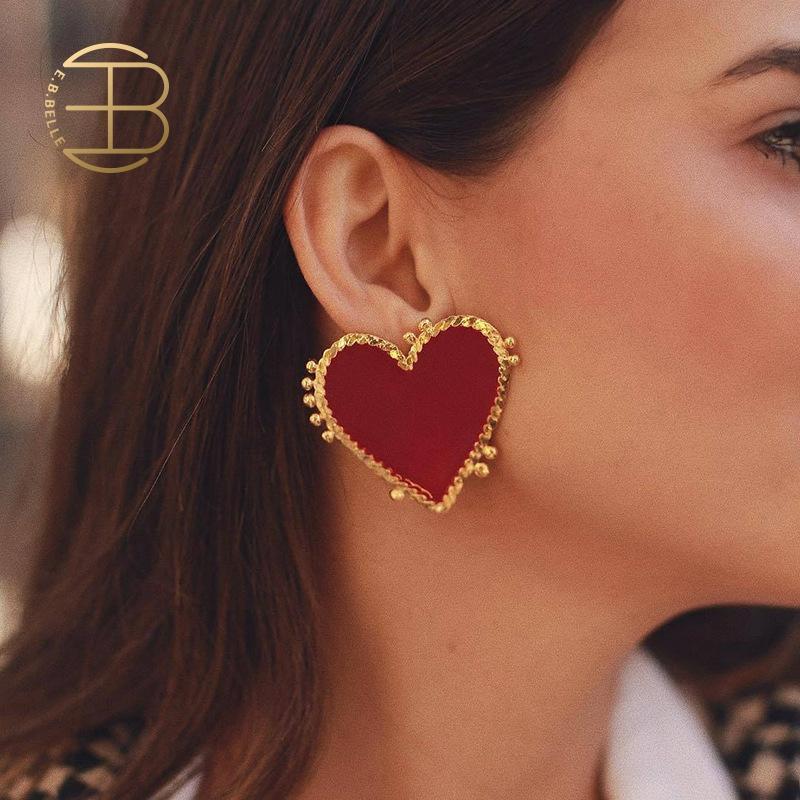 New Fashion Street Style Hyperbole grande cuore rosso orecchini per donna oro amore cuore orecchini gioielli bohémien