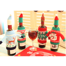 4 Sets Christmas High-end Creative Wine Bottle Cover Knitted Sweaters Multicolor Bar Home Decoration