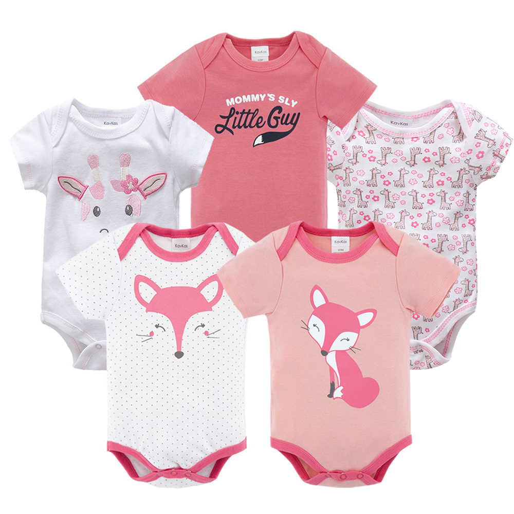 Honeyzone Summer Newborn Baby Girl Bodysuit Cotton ropa de bebe body Baby Boy Clothes Short Sleeve Random 5pcs/lot onesie Baby