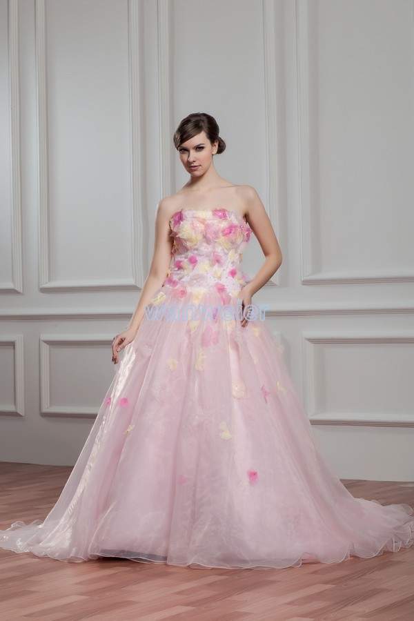 Free Shipping 2016 New Hot Sale Handmade Flowers Gothic With Zip Back Bridal Gown Custom Size/color Pink Plus Size Wedding Dress