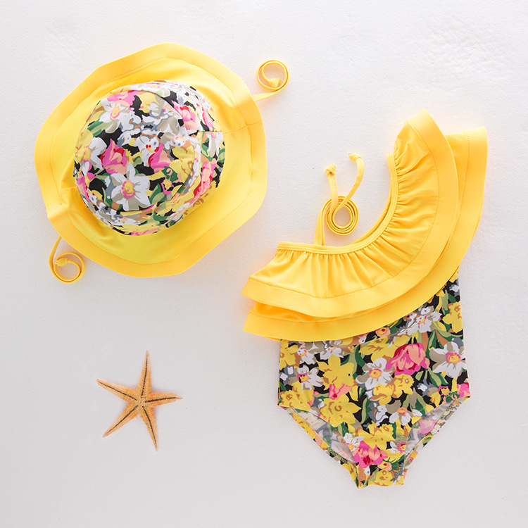 New Style Floral-Print Lotus Leaf-Trimmed Collar Holiday Baby GIRL'S One-piece Swimming Suit