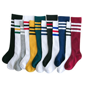 High-Socks Sports-Wear Football-Stripe Baby Girls Teen Kids Children Knee Toddle Cotton