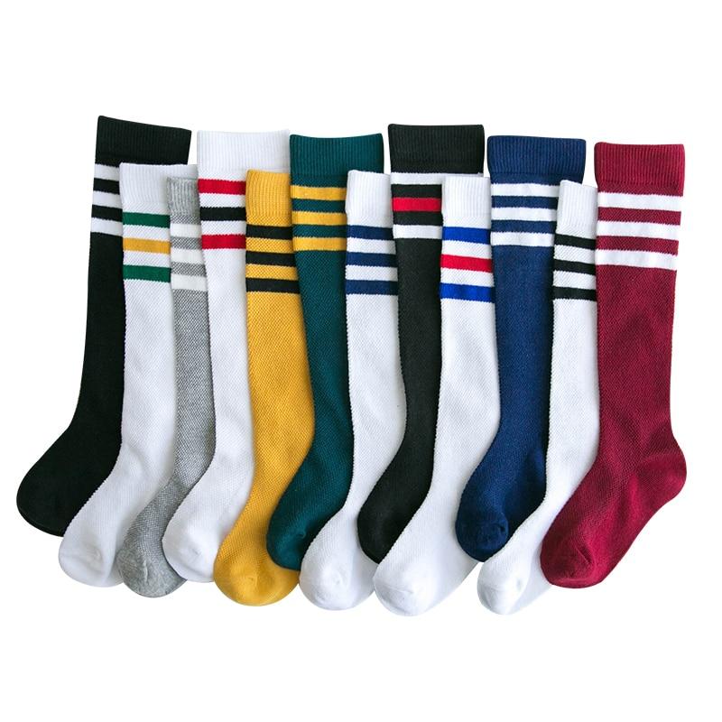 Kids Baby Knee High Socks For Girls Children Football - Stripe Spring Summer School Sports Wear Toddle Boy Cotton Long Socks