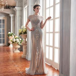 Image 4 - Finove 2020 New Evening Dresses Long Short Sleeves With Luxury Beaded Floor Length Sexy Mermaid Dress Party Gowns For Woman