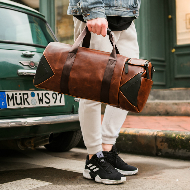 Xiao.P Brand Retro Brown Bucket Travel Bags Large Crazy Horse PU Leather Handbags Shoulder Bag Men Gym Duffle Bag 3