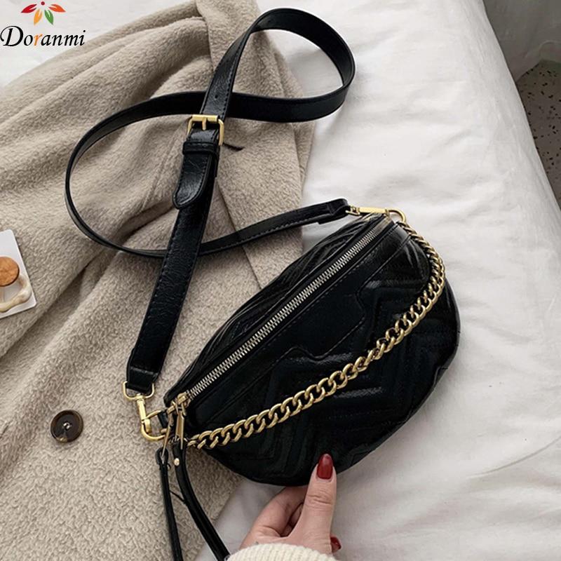 DORANMI Striped Fanny Pack Women's Waist Packs 2019 Chain Strap PU Leather Waist Bags Crossbody Chest Bag Female Nerka BG352
