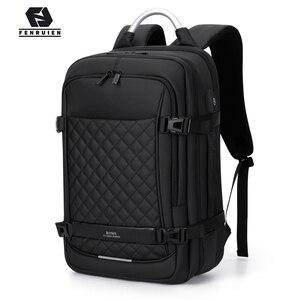 "Image 1 - Fenruien 남자 확장 가능한 배낭 대용량 다기능 15.6 ""노트북 배낭 방수 USB 충전 여행 배낭"