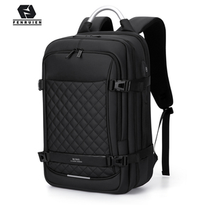 "Image 1 - Fenruien Men Expandable Backpack Large Capacity Multifunctional 15.6""Laptop backpacks Waterproof USB charging travel backpacking"
