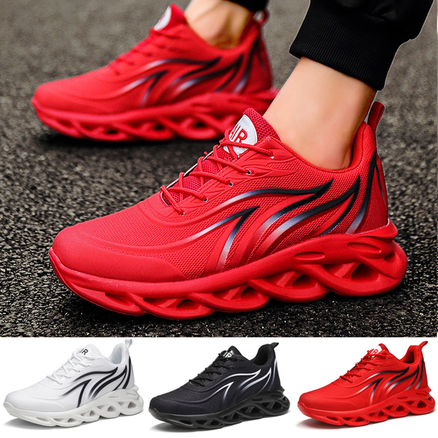 Men's Flame Printed Sneakers Flying Weave Sports Shoes  1