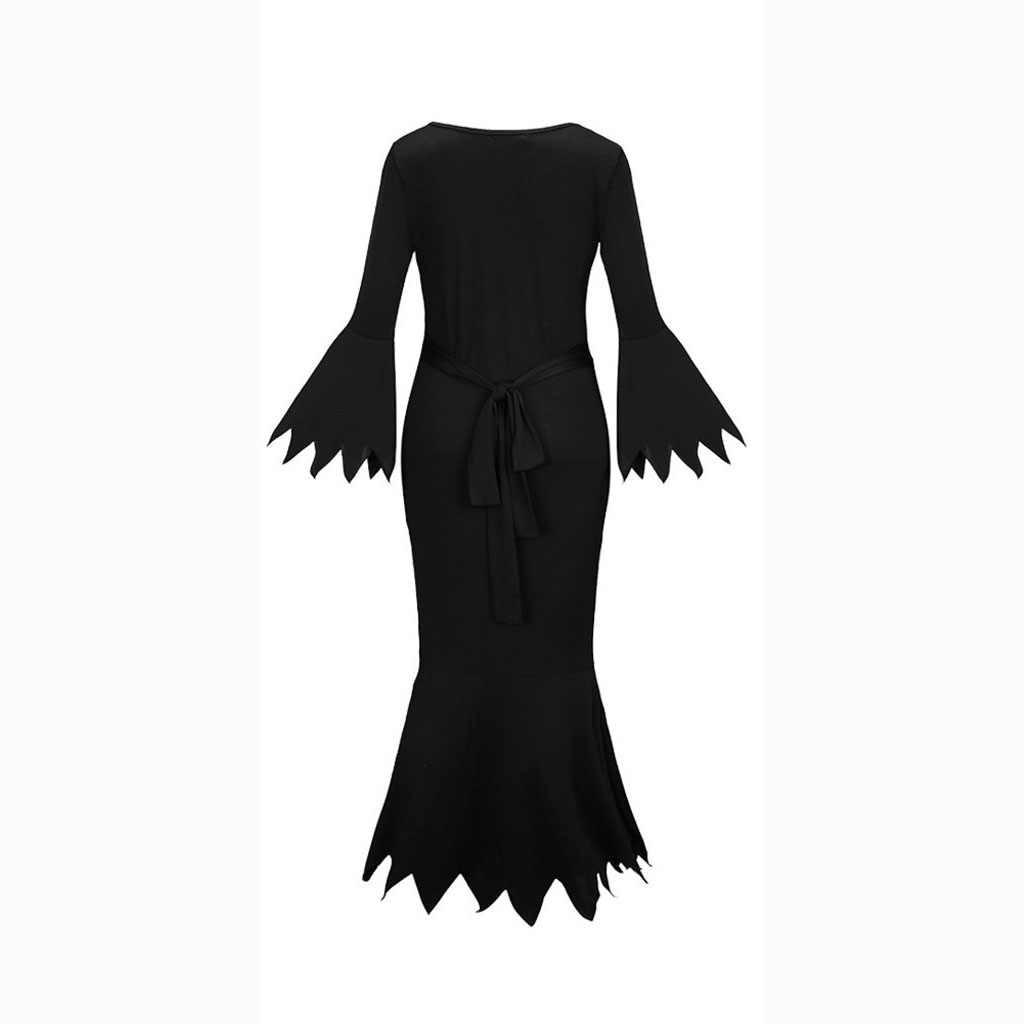 新ハロウィンコスプレ衣装ファッション女性 Soild ドレス V ネックパーティーゴーストドレス хеллоуин костюм Vestido デ径 das bruxas # D