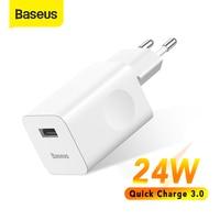 Baseus 24w carga rápida 3.0 carregador usb para xiaomi mi 9 samsung s7 usb carregador de telefone rápido para iphone 8 x adaptador de carregador de parede