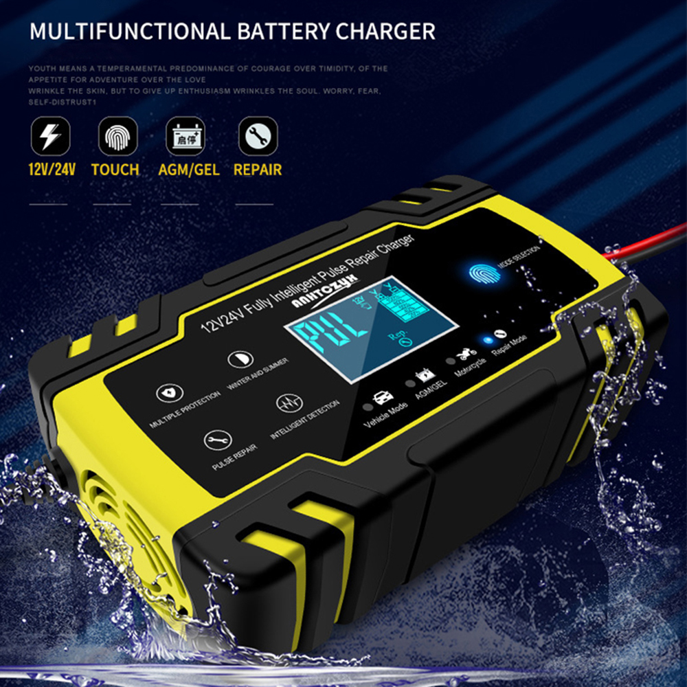 Car Battery Charger 12/24V 8A Touch Screen Fully Intelligent Pulse Repair Chargers Wet Dry Lead Acid LCD Display(China)