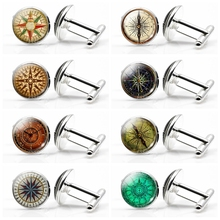 New High Quality Compass Cuff Links,Vintage Glass Cabochon Alloy Cuff Links for Men Shirt Accessories (It's Not A Real Compass) наручники с золотистой металлической застежкой entice universal cuff links