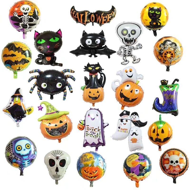 Алюминиевая фольга, мультяшный паук, призрак, тыква, голова, детский шар, украшения для дома на хэллоуин, популярные праздничные принадлежно...