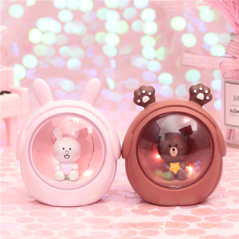 LED Resin Cartoon Rabbit Bear Starry Novetly Light Bedside Lamps For Baby Kids Desktop Decor Night Light  Birthday Xmas Gift Toy
