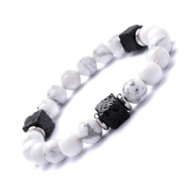 2019 Men Friendship Bracelets Stainless Steel Partition Formula Volcanic Stone Black and White Fashion for Women
