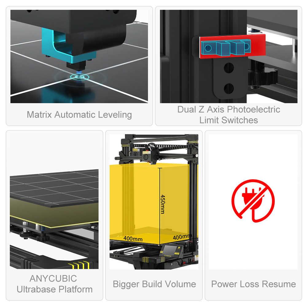 Anycubic 3d Printer Anycubic Chiron Plus Besar Ukuran Cetak dengan Harga Murah 3D Printer 400*400*450 Mm Cetak DIY kit FDM TFT Impresora 3D
