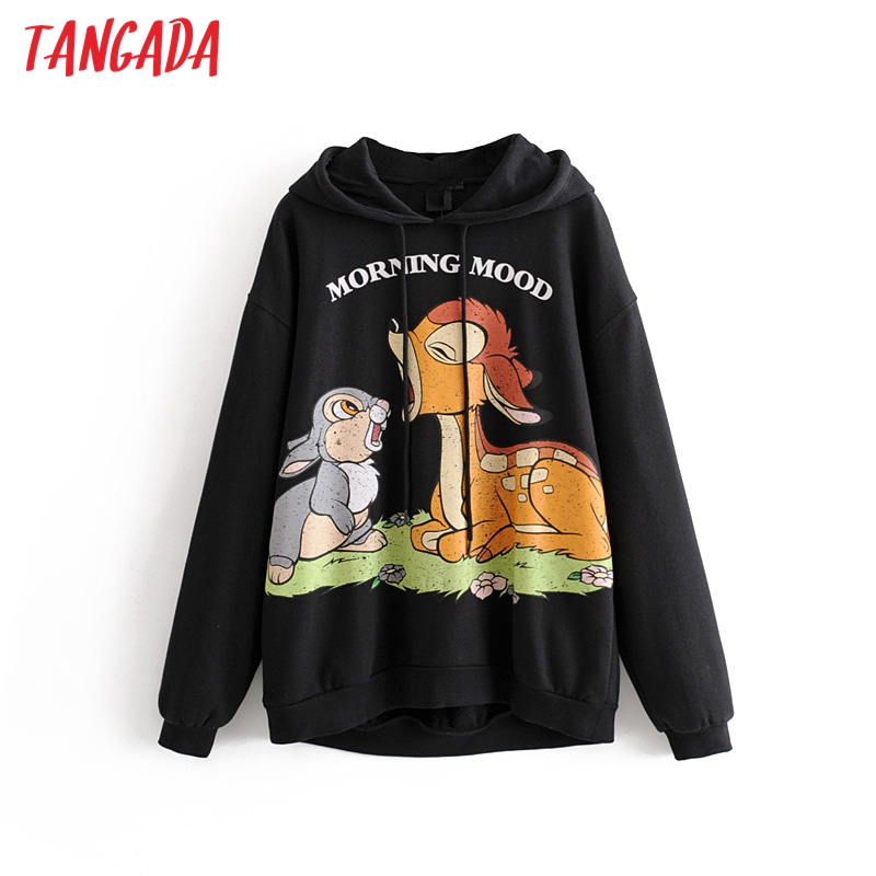 Tangada Women Cute Fleece Oversized Sweatshirts Long Sleeve Korea Style Winter Warm Pullovers Fashion Ladies Casual Tops 3H60