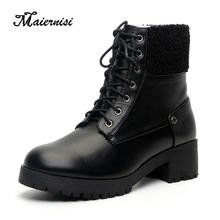 MAIERNISI Winter and autumn women boots brand designer new black high heel laced platform ankle thick