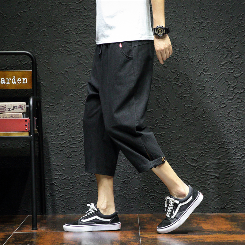 Linen Cargo Shorts Men Black Cotton Clothing Men's Calf Length Ropa Plus Size 5XL Street Casual Male Extra Large Summer Shorts