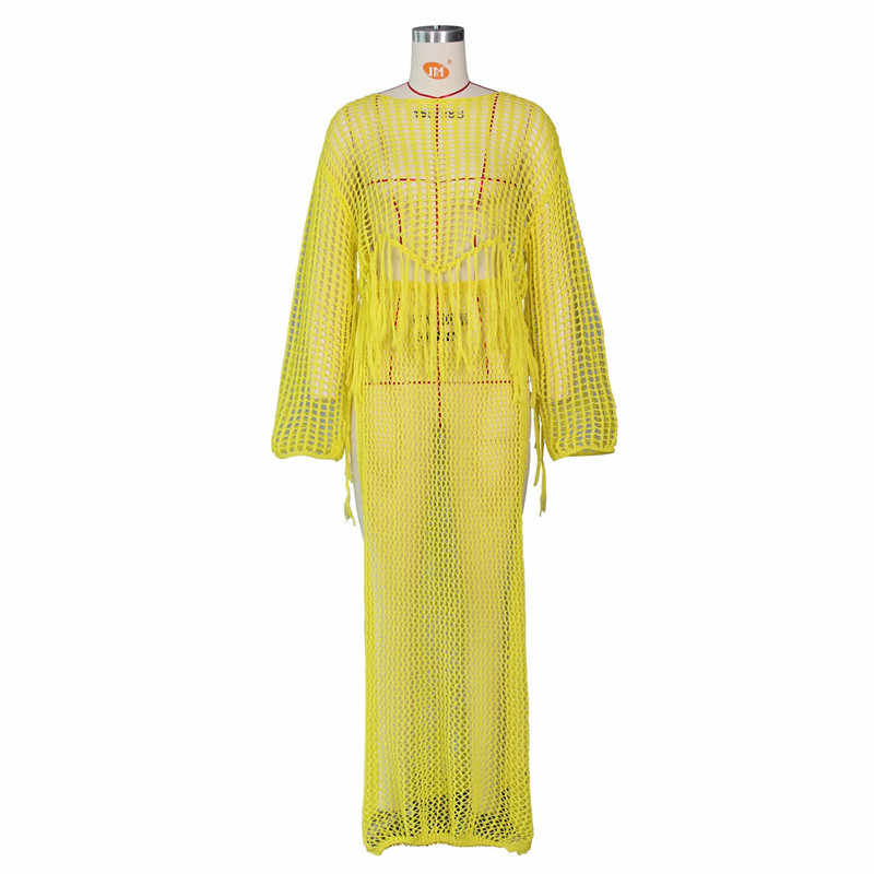 Sheer חלול החוצה סרוג סרוגה חוף שמלת נשים ארוך שרוול ציצית צד פיצול אלגנטי לילה מועדון המפלגה ארוך שמלות כיסוי עד