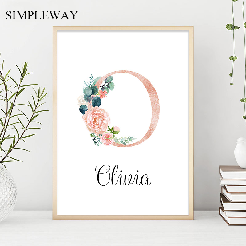 Custom Personalized Name Poster Floral Letter Art Canvas Print Baby Nursery Wall Picture Painting Kids Girl Bedroom Decoration