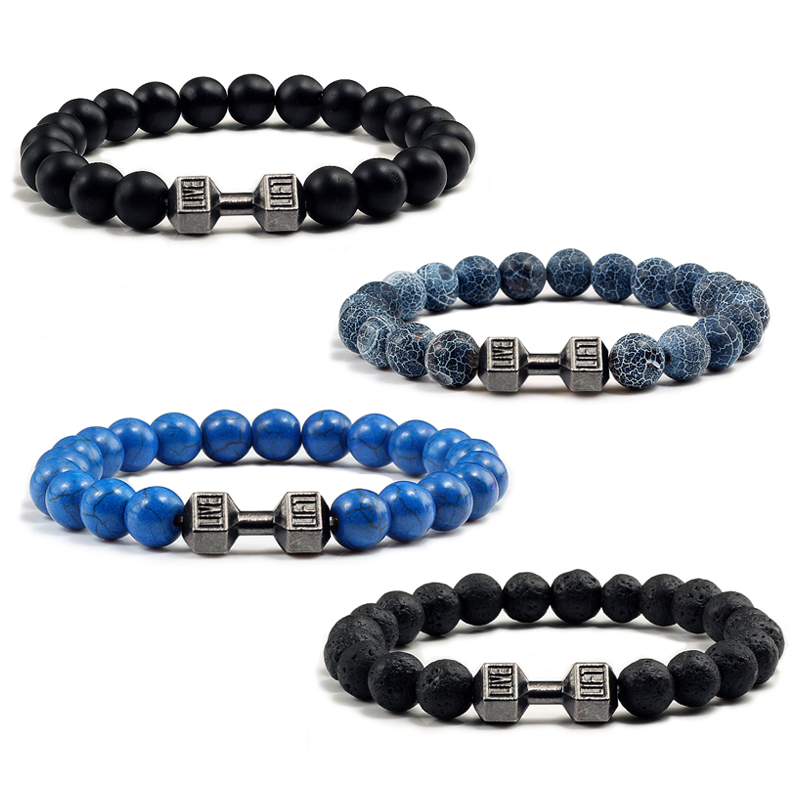 14 Style Natural stone Metal Dumbbell Lava Stone Beads Bracelets Bangles Women Jewelry Men Bracelet Couple Pulseras Hombre mujer