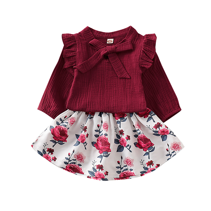 New Girls Clothes Kids Clothes Set 2Pcs Ruffle Sleeve Tops Rose Print Skirt Floral Carters Baby Girl 2Style Red or Purple D30 in Clothing Sets from Mother Kids