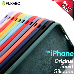 Original Liquid Silicone Luxury Cases For Apple iPhone 11 Pro XS MAX XR X 10 6 6S S 7 8 Plus Candy Color Fluff Shockproof Cover