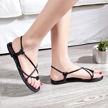 Summer Flip Flops Gladiator Sandals Shoes Beach Cross Sandals Woman Slip On Flats Casual Women Black Brown Shoes Plus Size 35-39(China)