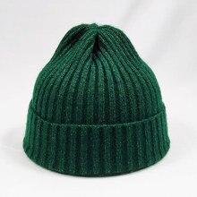 Mixed Color Winter Cap Knit Hat for Men Women Striped Shape Beanies Dark Green B
