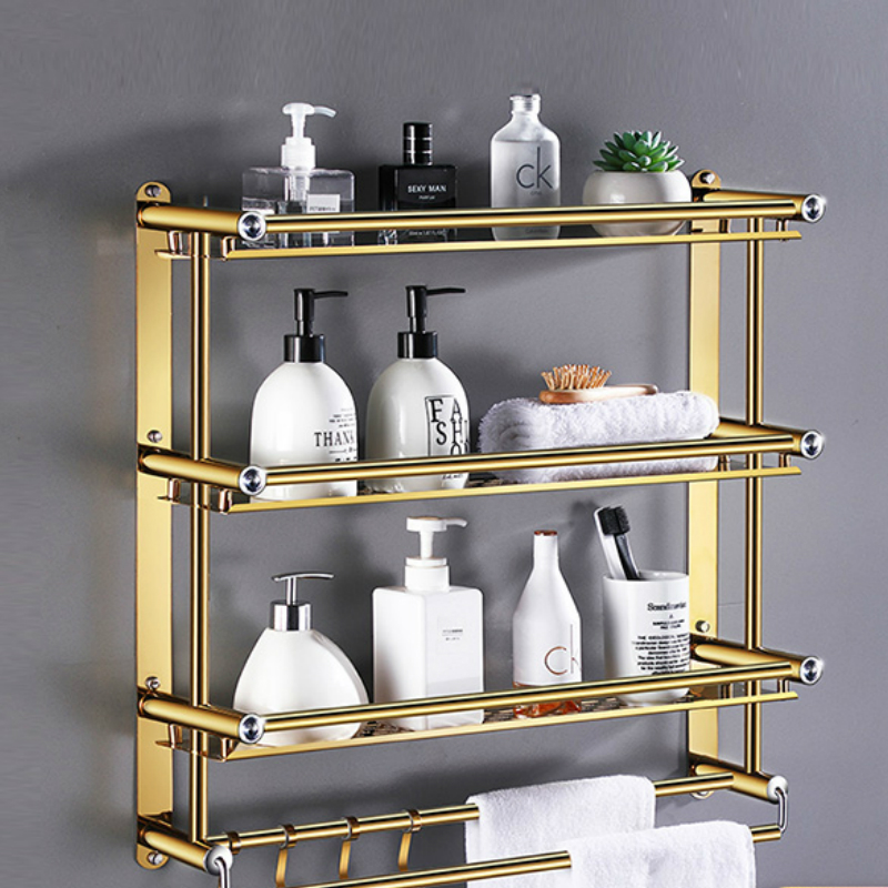 Luxury Gold Shower Basket Stainless Steel Crystal Bathroom Accessories Towel Rack Rose Gold Dual Tier Shampoo Organizer Shelves