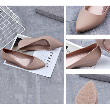 Women's work shoes 2019 autumn new pointed sandals solid color wedge shoes casual comfortable home platform Full rubber shoes 4