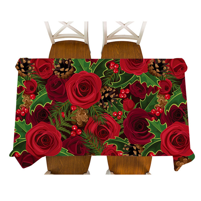 Waterproof Tablecloth Santa Claus Elk Christmas Home Decoration Coffee Table Cloth Red Rose Flower Print Protection Table Cover M335-9
