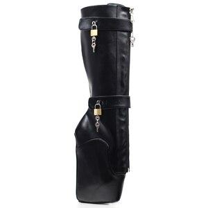 Image 5 - Jialuowei النساء مثير الأحذية 18 سنتيمتر عالية إسفين كعب Heelless وحيد قابلة للقفل سستة الأقفال الركبة عالية الباليه الأحذية للجنسين أحذية